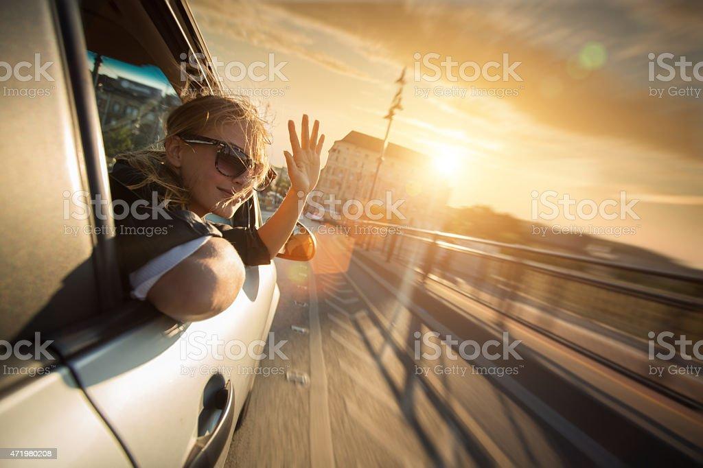 speeding into the sunset stock photo
