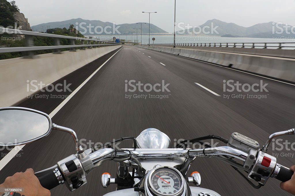 Speeding Motorcycle Ride royalty-free stock photo