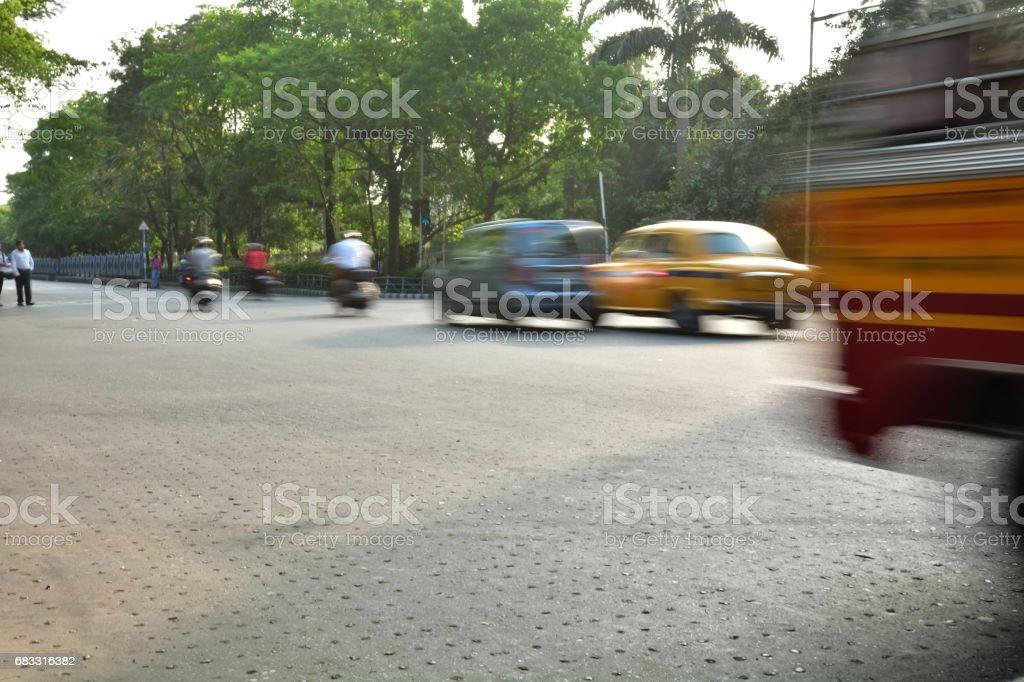 Speeding Taxi royaltyfri bildbanksbilder