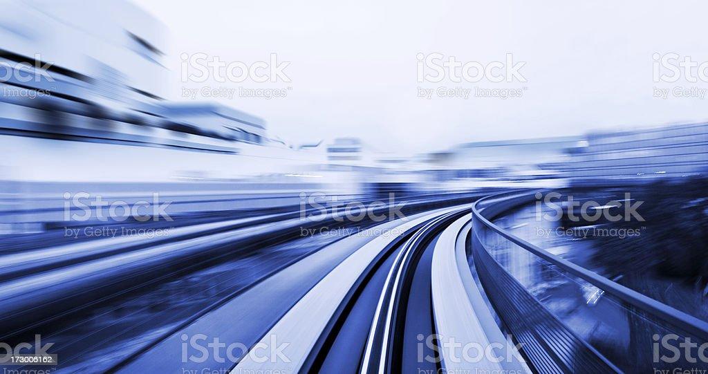 Speeding through a City stock photo