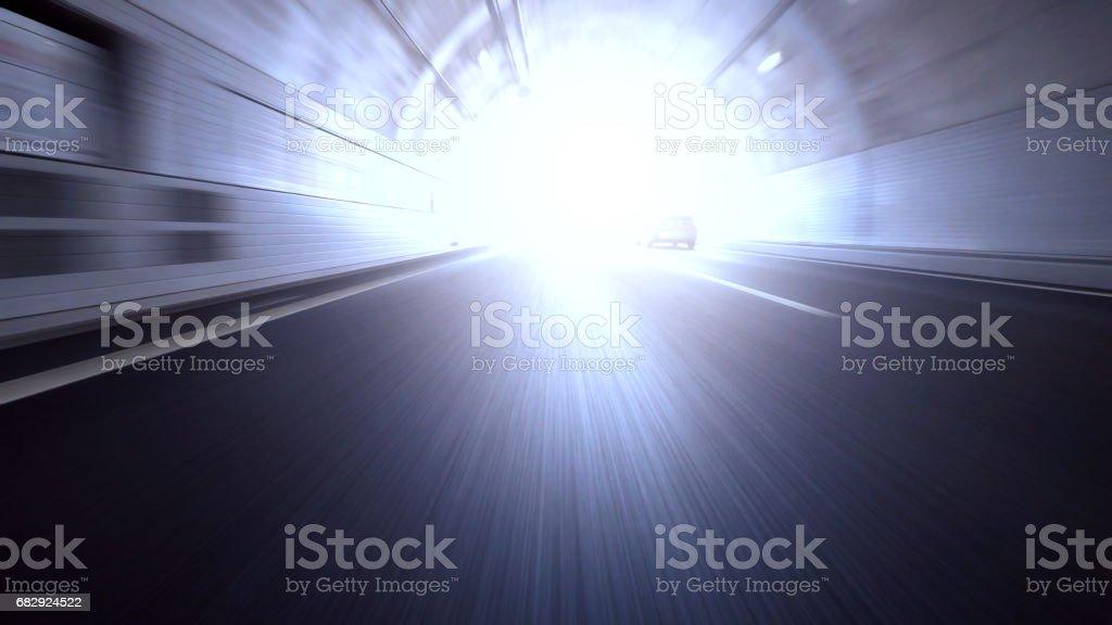 Speeding through Tunnel stock photo