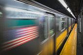 6 Train speeding through Ft. Hamilton Parkway in Brooklyn, NY. USA
