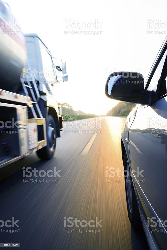 Speeding truck stock photo
