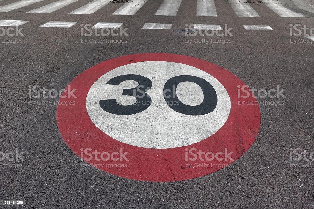 Speedlimit 30 and crosswalk stock photo