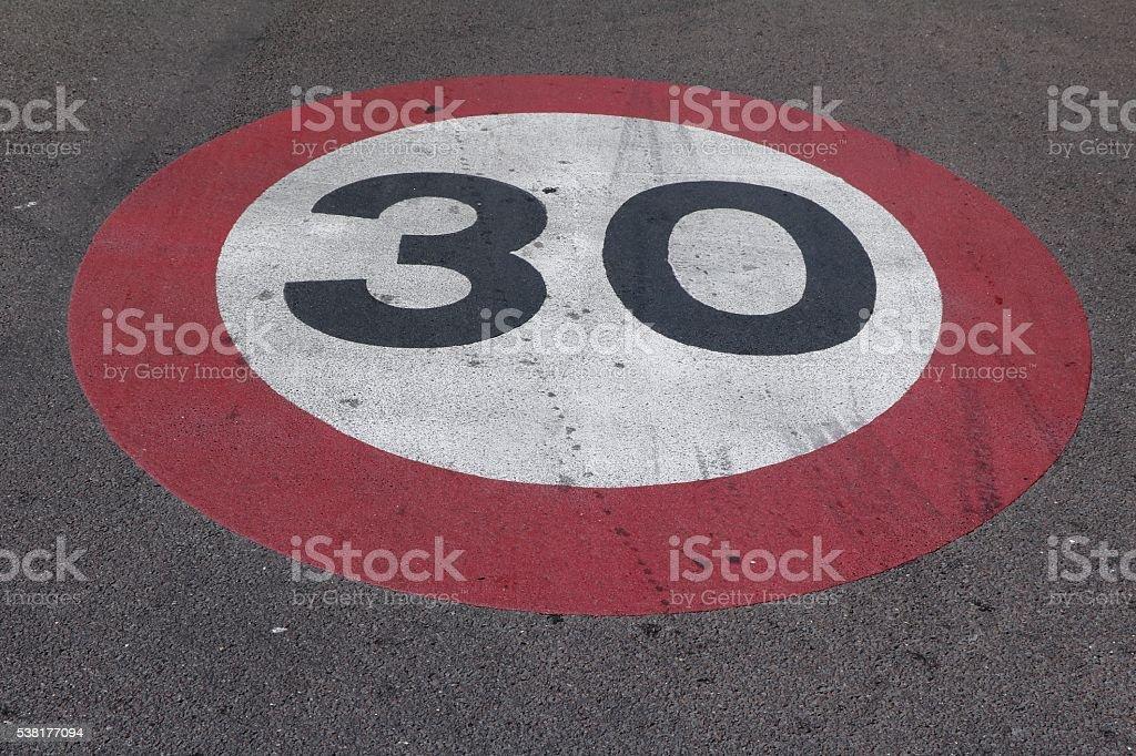 Speedlimit 30 on Street, Italy stock photo