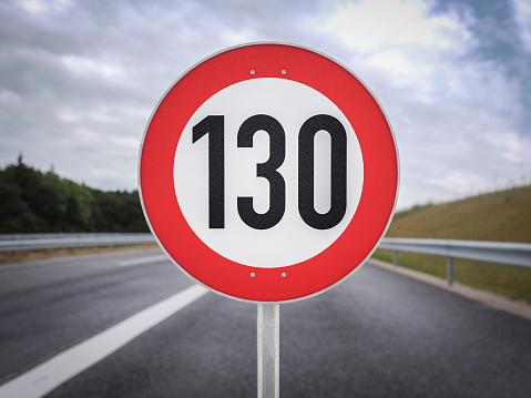 130 speedlimit German Autobahn 3d illustration