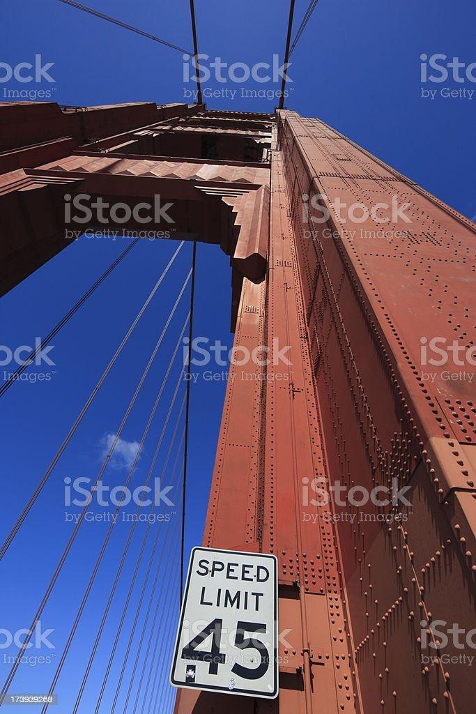 Speedlimit sign on the golden gate bridge stock photo