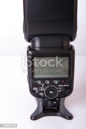 An image of speedlite isolated on white