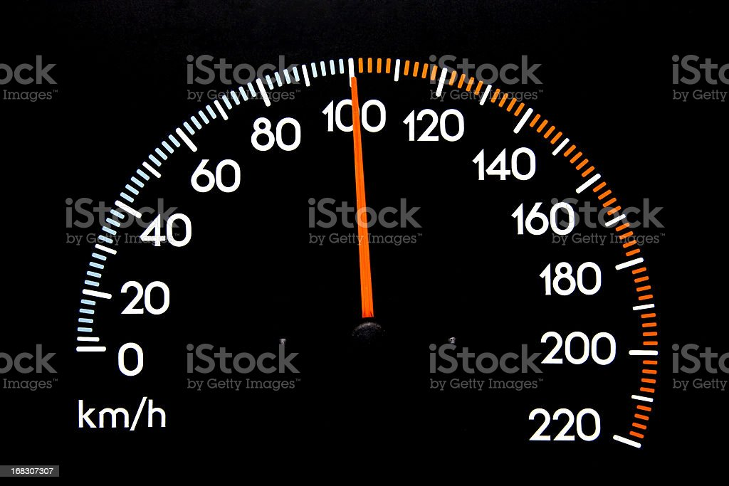 Speedometer 100 kmh stock photo
