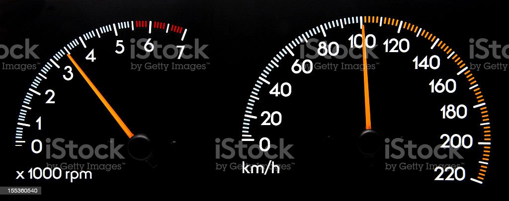 Speedometer 100 kmh - Tachometer stock photo