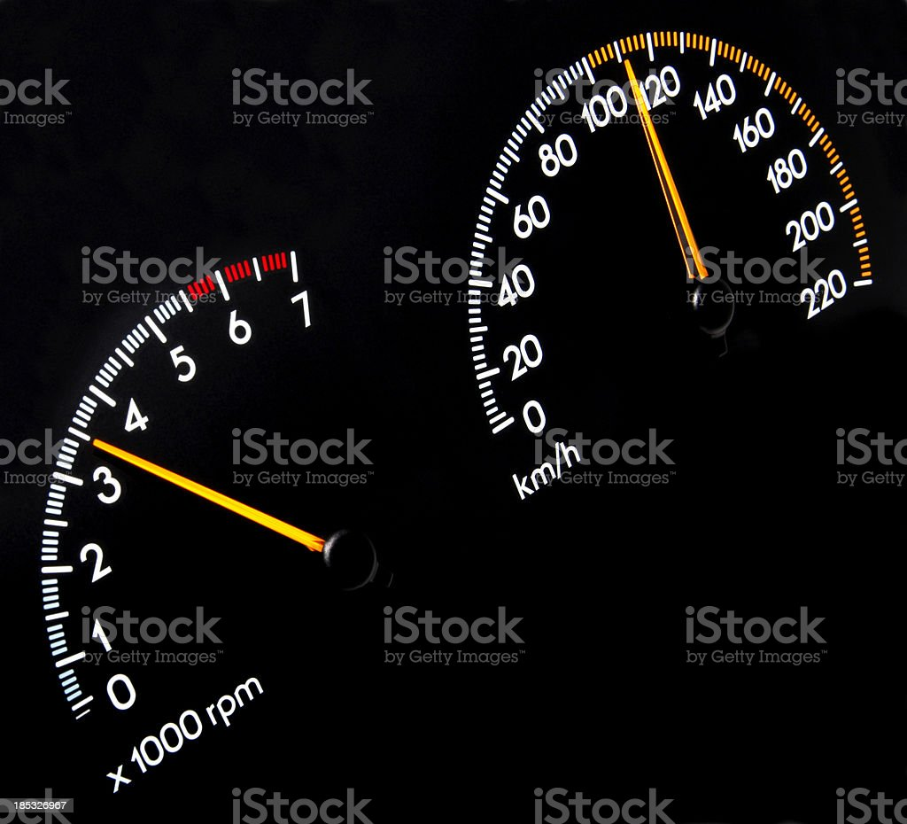 Speedometer 110 kmh - Tachometer stock photo