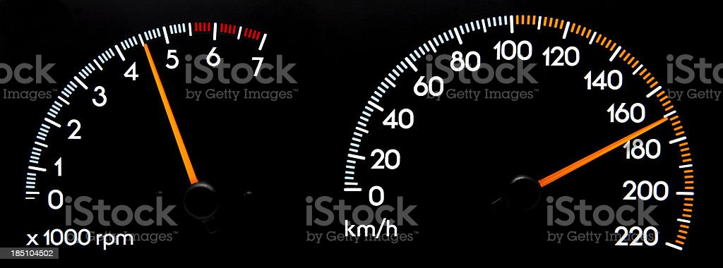 Speedometer 170 kmh & Tachometer stock photo