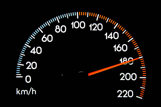 speedometer 180 kmh - dashboard vehicle part stock photos and pictures