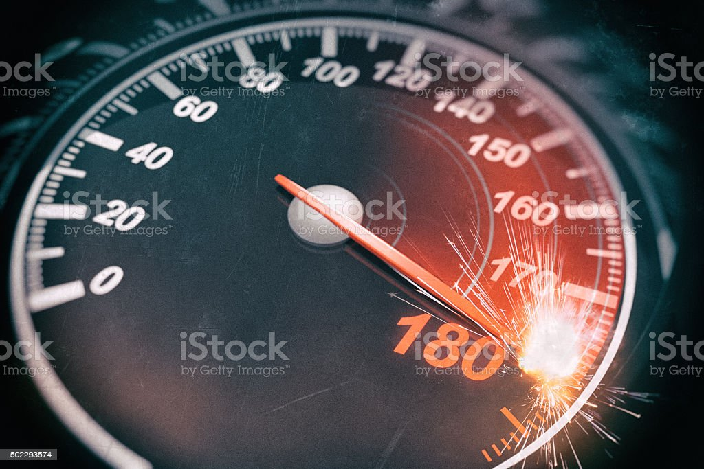 Speedometer 180Mph overdrive with sparks.