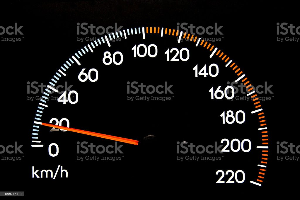 Speedometer 20 kmh stock photo