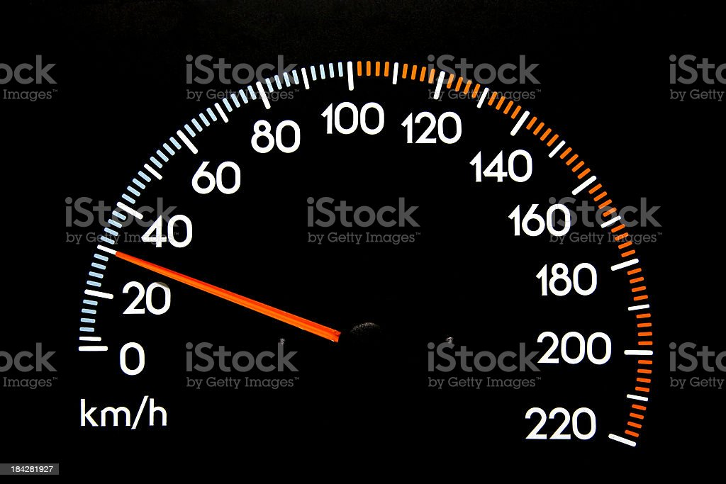 Speedometer 30 kmh stock photo