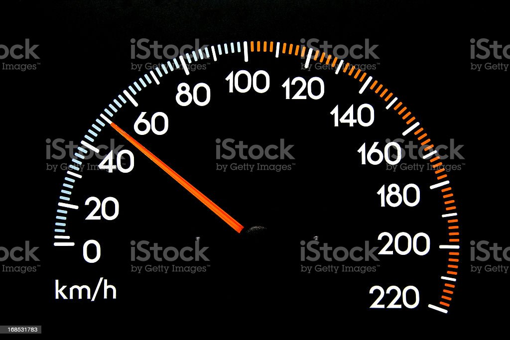 Speedometer 50 kmh stock photo