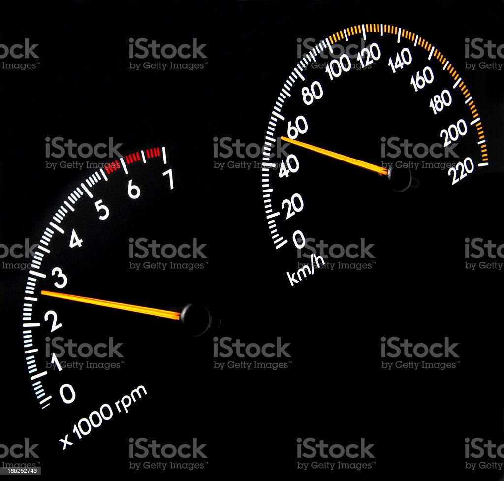 Speedometer 50 kmh & Tachometer stock photo