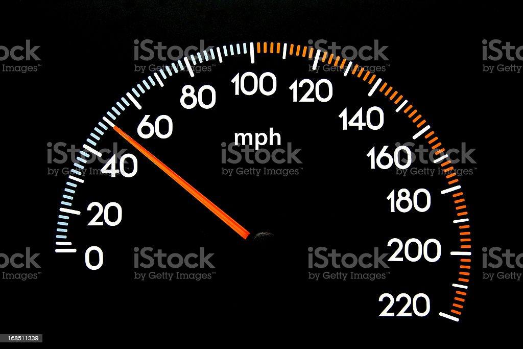 Speedometer 50 mph stock photo