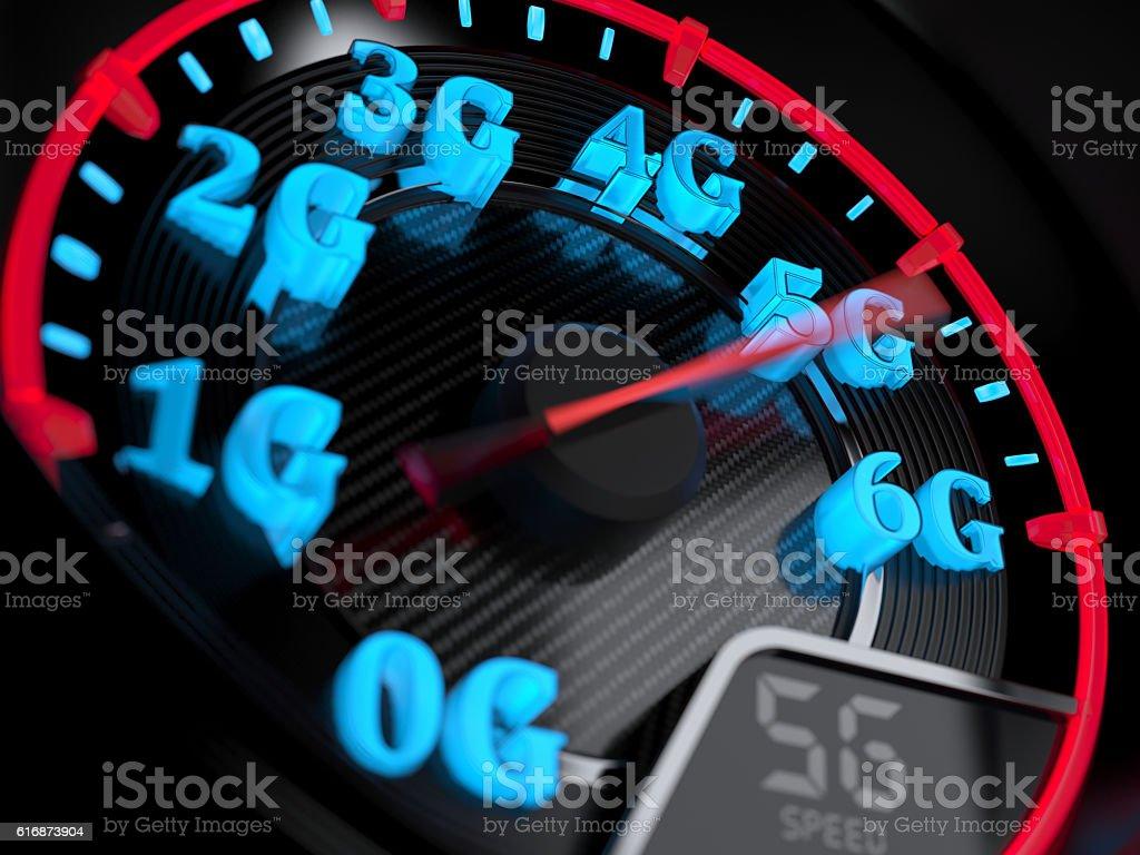 Speedometer 5G evolution stock photo