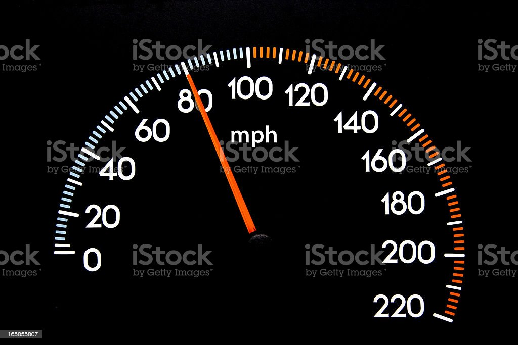 Speedometer 80 mph stock photo