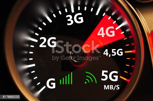 istock Speedometer and 4G high speed internet 517655220