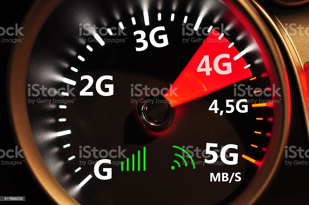 Speedometer and 4G high speed internet stock photo