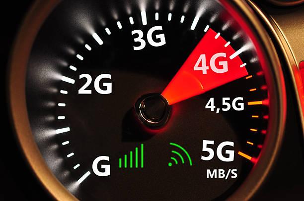 contachilometri e 4 g a internet ad alta velocità - 4g foto e immagini stock