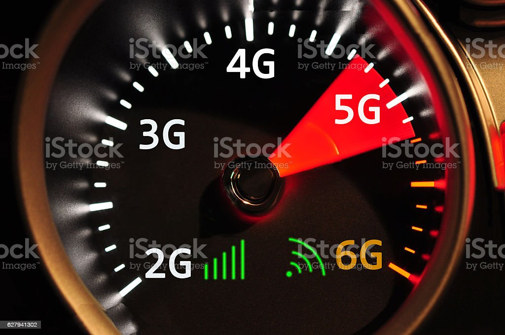 Speedometer and 5G high speed internet stock photo