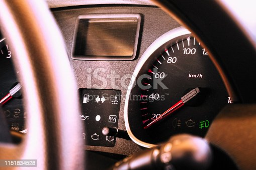 521911567 istock photo Speedometer and dashboard of the car 1151834528