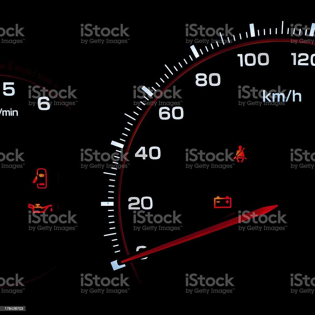 Speedometer and tachometer stock photo