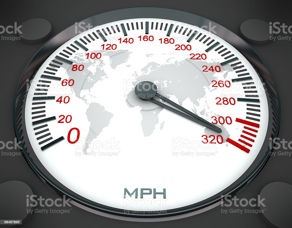 Speedometer and World Map royalty-free stock photo