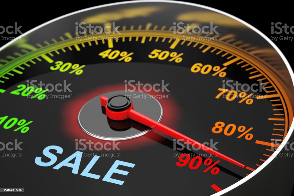 Speedometer as Sale Level Meter. 3d Rendering stock photo