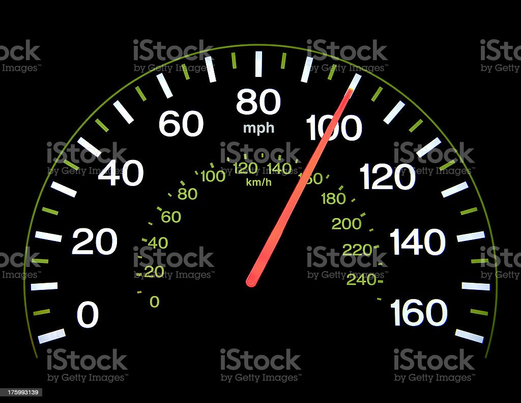 Speedometer at 100 mph royalty-free stock photo