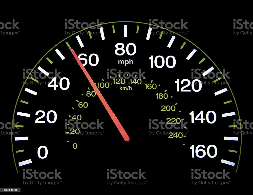 Speedometer at 55 mph stock photo