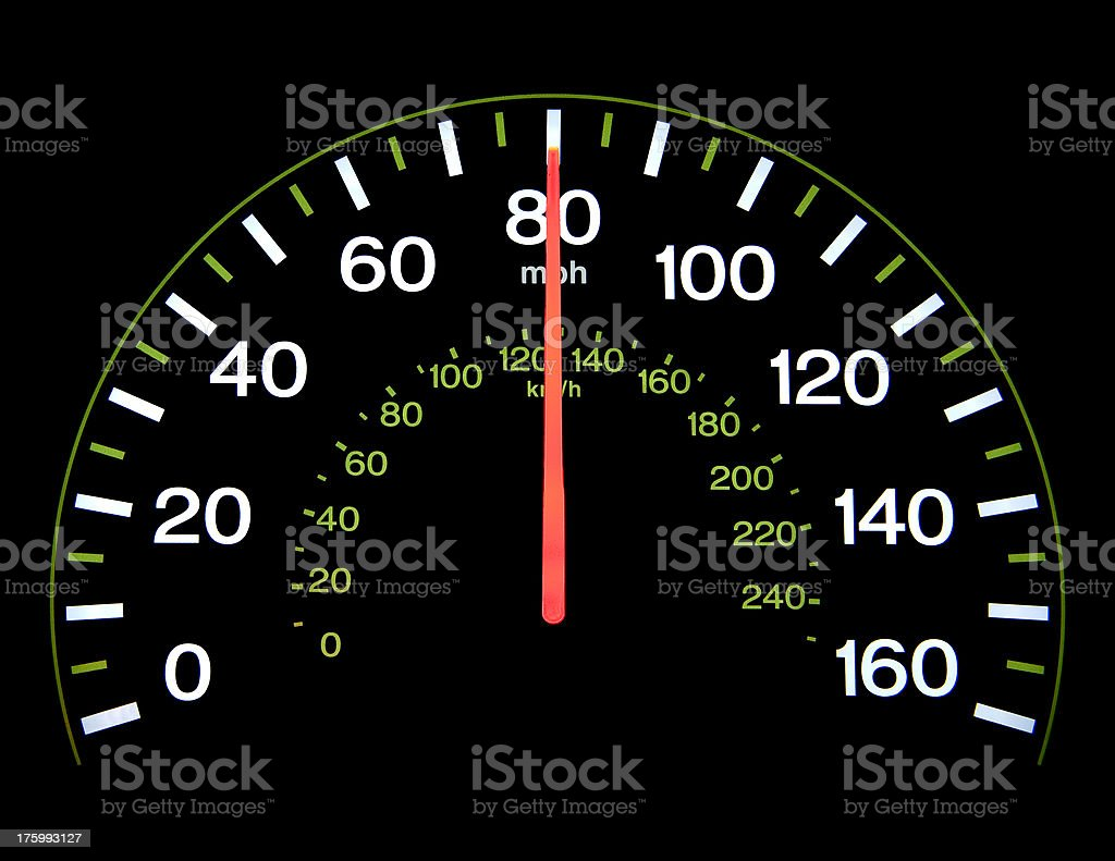Speedometer at 80 mph royalty-free stock photo
