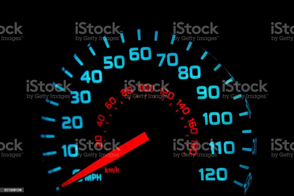 Speedometer at night, lit up stock photo