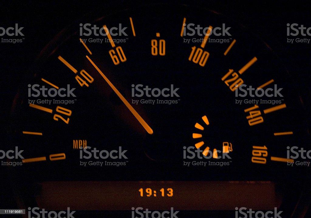 Speedometer at night royalty-free stock photo