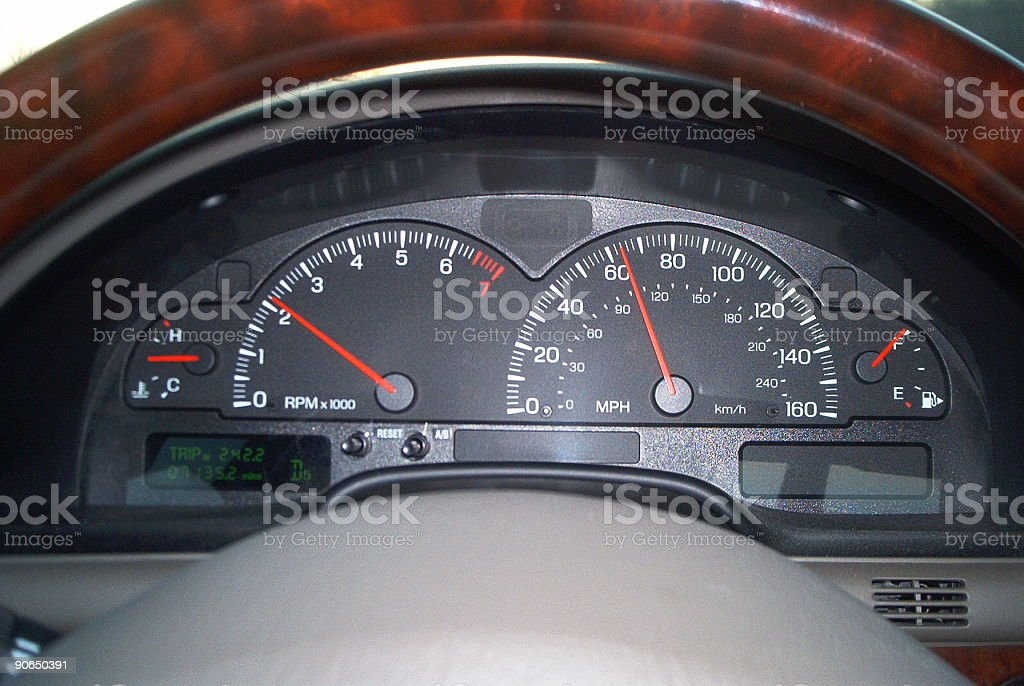 Speedometer - Driving at the speed limit royalty-free stock photo