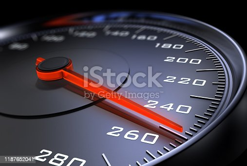 Dark stylish speedometer with needle moving to 260 km/h and beyond