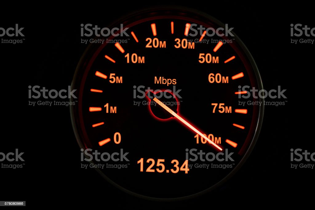 Speedometer of internet connection stock photo