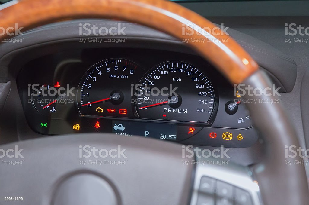 speedometer on dashboard of car royalty-free stock photo