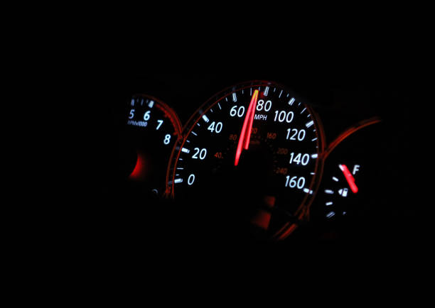 Speedometer passenger car, showing a higher speed. stock photo