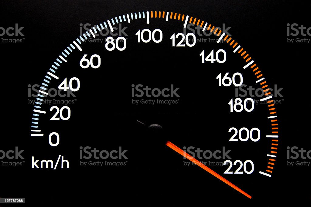 Speedometer - (kmh) stock photo