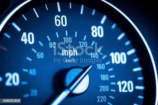 Close up macro shot of a car speedometer. Horizontal colour image processed from an original RAW file for maximum quality. Room for copy space.