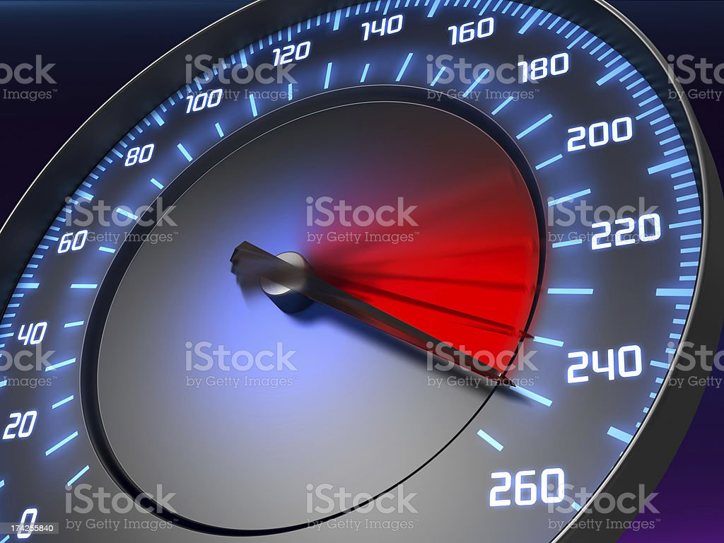 A speedometer pointing at the red dangerous zone royalty-free stock photo