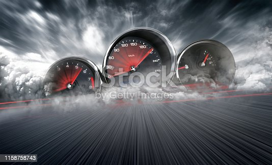 istock Speedometer scoring high speed in a fast motion blur racetrack background. Speeding Car Background Photo Concept. 1158758743