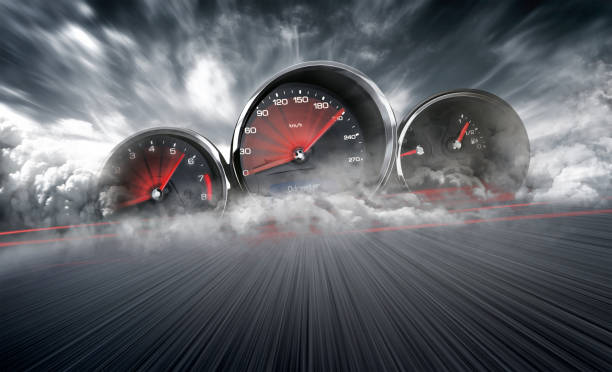 speedometer scoring high speed in a fast motion blur racetrack background. speeding car background photo concept. - velocidade imagens e fotografias de stock