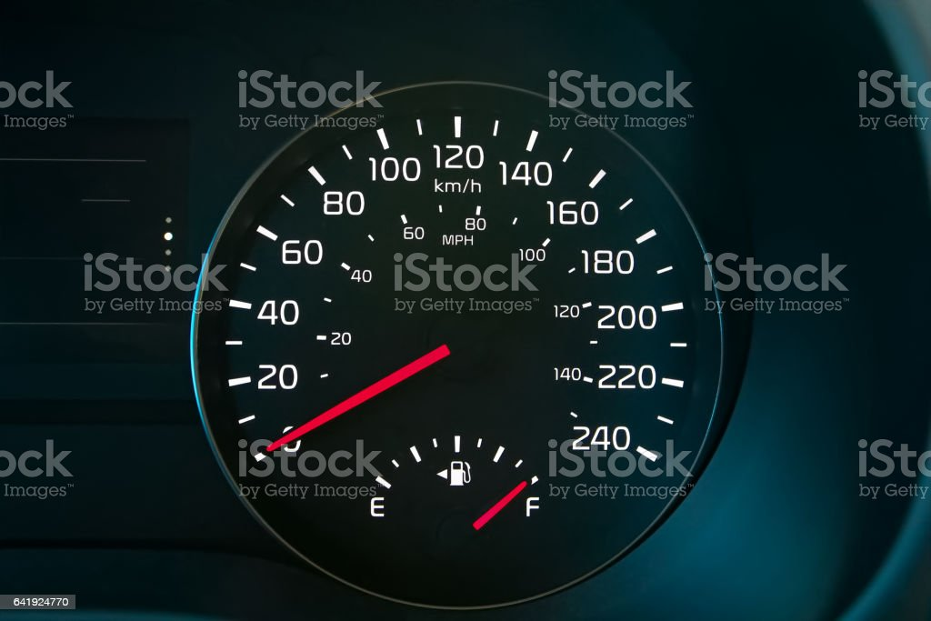 Speedometer Showing A Full Fuel Tank stock photo