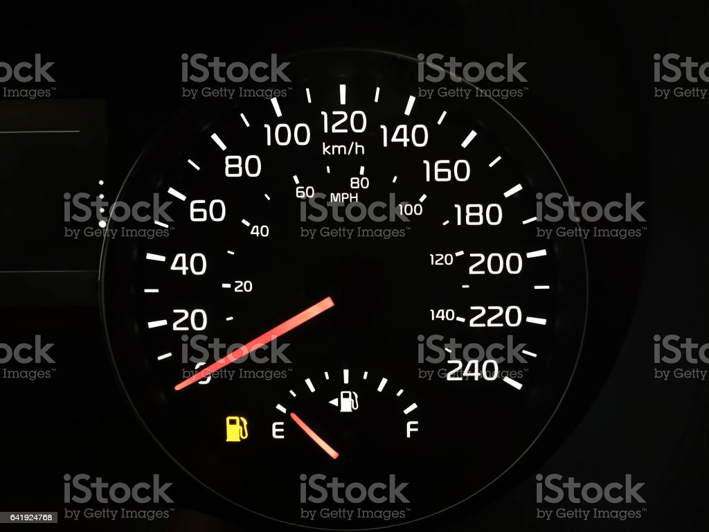 Speedometer Showing An Empty Fuel Tank stock photo